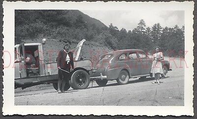 Vintage Car Photo Pretty Girls w/ New 1941 DeSoto Automobile on Tow Truck 670142