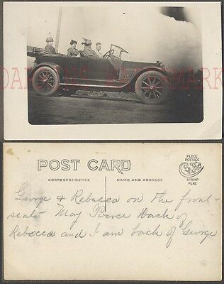 Vintage Photo Postcard Man & 3 Women in Mystery Touring Car 670947