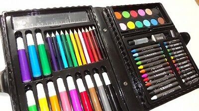 Art Supply Set 68 Piece With Folding Storage Case Includes Markers, Colored And
