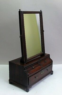 Fine & Rare 18th C. ENGLISH GEORGE III BOWFRONT Shaving Mirror  c. 1770  antique