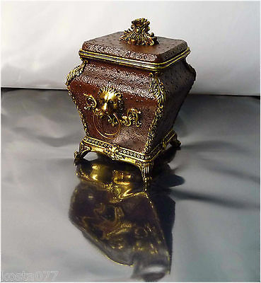 Ornate  Porcelain Jewellery Box, Brown Container with Gold coloured decoration