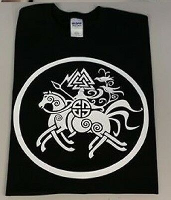 Viking t shirt Odin Riding Sleipnir Valhalla Huginn and Muninn Ravens Runes