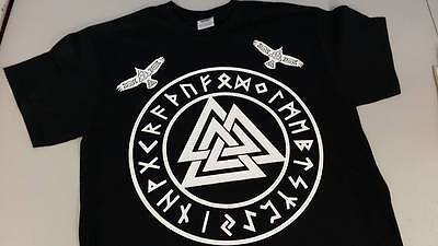 Viking t shirt Runes Valhalla Huginn and Muninn Ravens Runes