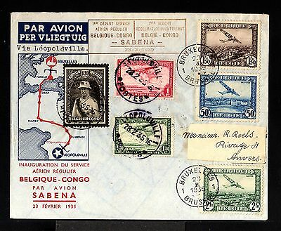 10256-BELGIUM-AIRMAIL COVER BRUSSELS to LEOPOLDVILLE (congo)1935.WWI.1º Flight.