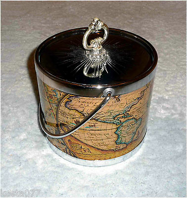 Vintage French Typvs Orbis Terrarvm Ancient Map Ice Bucket / Biscuit Barrel