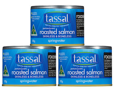 3 x Tassal Roasted Atlantic Salmon in Springwater 185g