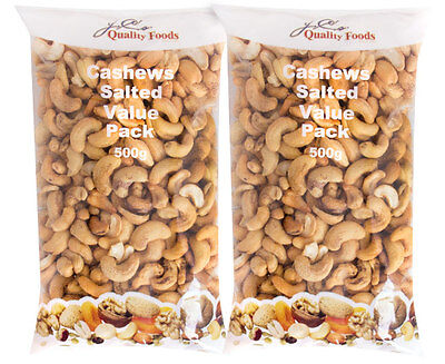 2 x J.C's Quality Foods Cashews Salted Value Pack 500g