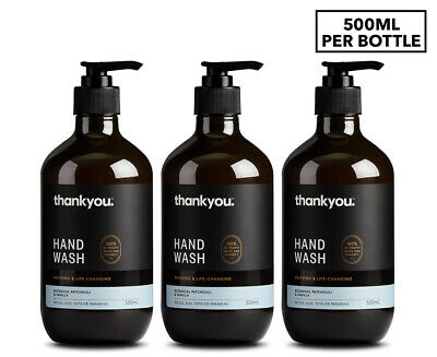 3 x Thankyou. Hand Wash Patchouli & Vanilla 500mL