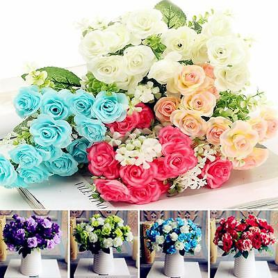 Artificial Rose Silk Flowers 15 Flower Head Leaf Bridal Wedding Garden Decor DIY