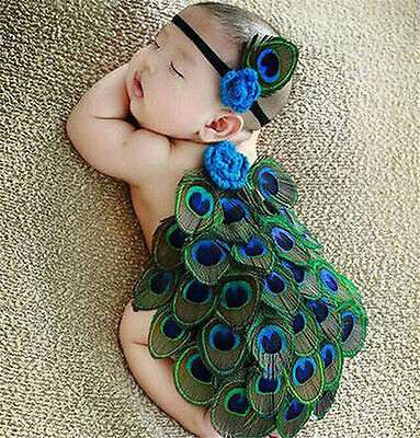 FD3728 Newborn Baby Peacock Crochet Knit Costume Photography Prop Outfits✿