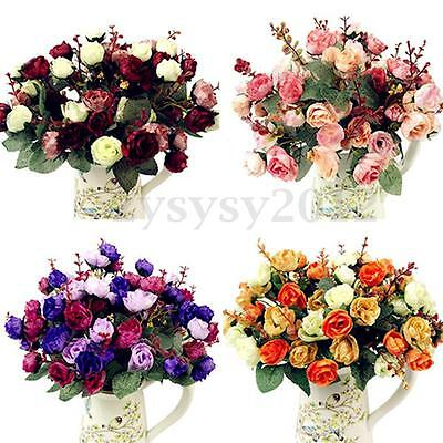 1 Bouquet 21 Head Concise Artificial Rose Silk Flower Leaf Home Wedding Decor