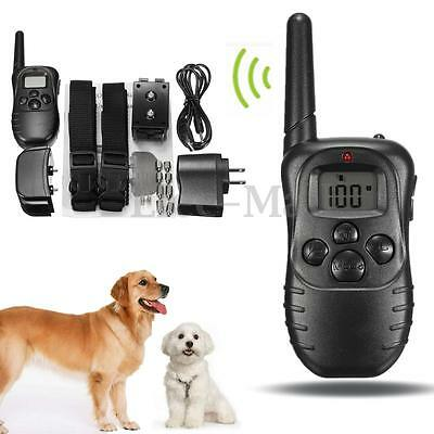 Electric Anti Bark LCD Transmitter 2 Collar for Dog Stop Barking Remote Training