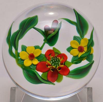 EARLY 1994 Ken Rosenfeld Art Glass Paperweight Floral Bouquet Signed Cane