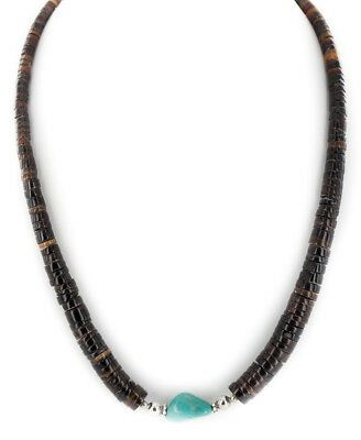 $250Tag Navajo .925 Graduated Heishi & Bisbee Turquoise Native American Necklace