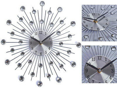 Silver Diamante Beaded Jewelled Wall Clock  Round Sunburst Metal Stylish 33Cm