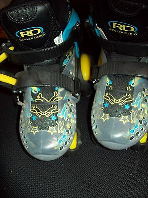 Boys  Roller Skates Fits Shoe Size Youth 11 To 2 Fun Roll Brand Blue & Yellow