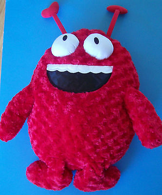 "30"" Curly Soft Plush Red SMILEY DEVIL  w/HEART HORNS & BUG EYES"