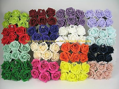 24 x 6cm Colourfast Artificial Foam Rose. Wedding/Craft Flowers 4 bunches of 6