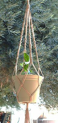 MACRAME PLANT HANGER 40 in Vintage Style SAND Cord (4mm)