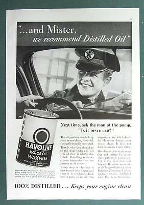 Original 1936 Texaco Havoline Ad MISTER WE RECOMMEND DISTILLED OIL