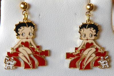 Betty Boop Earrings / Dangling Post or Stud / Red Dress w Dog / Gold-tone Accent
