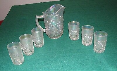 1970's BIRD #670 ROBIN Imperial Glass IRIDESCENT WHITE 7 Piece Water Pitcher Set