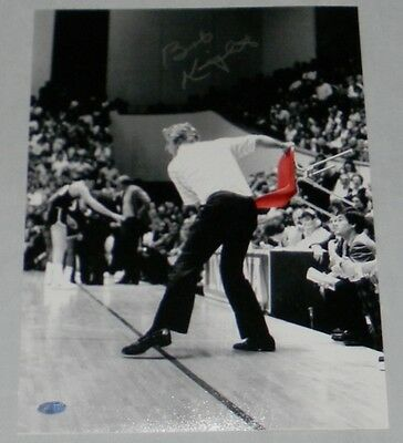 BOB BOBBY KNIGHT SIGNED INDIANA HOOSIERS 11x14 CHAIR TOSS THROW PHOTO STEINER