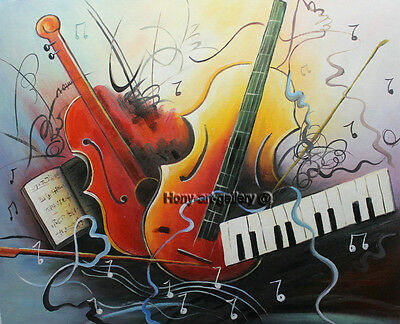 Modern Handmade Music Abstract Oil Painting on Canvas Living Room Wall ART HDF77
