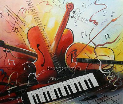 Modern Handmade Music Abstract Oil Painting on Canvas Living Room Wall ART H2178
