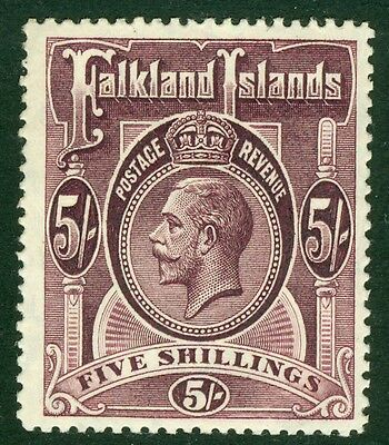 SG 67b Falklands 5/- maroon. A pristine very lightly mounted mint example CAT...