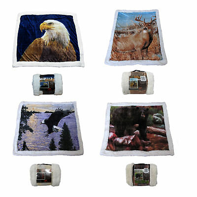 Wildlife Animal Safari Ultra Soft Sherpa Bed Throw Rug Blanket 127 x 152cm