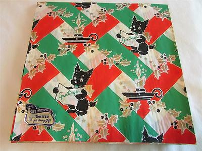 Vintage 1940's Scotty Dog Candle Christmas Gift Wrap Wrapping Paper 2 Sheets NOS