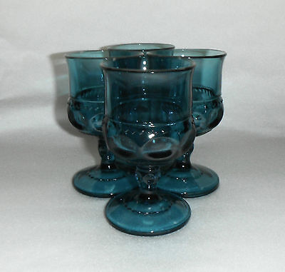 4 Indiana Glass KINGS CROWN Cordial - Wine Glasses - Beautiful Smokey Blue Teal