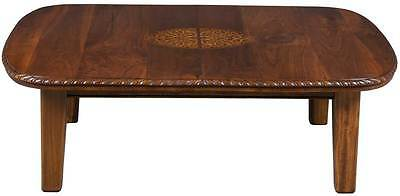 Vintage Antique Style Walnut Large Coffee Cocktail Sofa Table Curved Corners