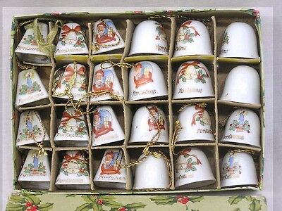 Vintage Christmas BELL Ornaments Box of 24 Miniatures w Christmas Imagery 1950s