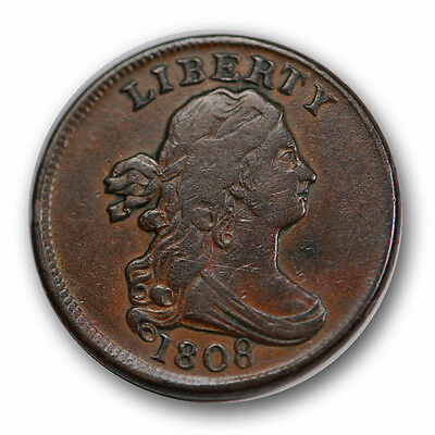 1808 1/2C Draped Bust Half Cent Extra Fine XF R871