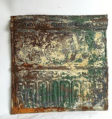 """24"""" x 25"""" Antique Reclaimed Tin Ceiling Tile *SEE OUR VIDEOS* Green C42a Metal"""