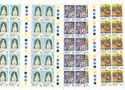 Stamps Australia 1979 Christmas set 3 in traffic lights gutter strips of 20 MUH
