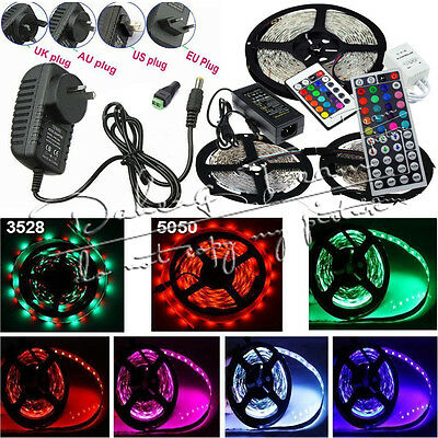 3528 5050 SMD RGB 300/600LEDs Flexible LED Strip Light IR Remote Power Adapter