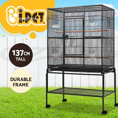 i.Pet 140cm Bird Cage Parrot Aviary Pet Stand-alone Budgie Perch Castor Wheels L