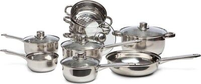 Sabichi Stainless Steel Pan Pot Utensil Cookware 9 Piece Set | Complete Kitchen