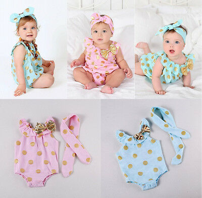Baby Girls Clothes Polka Dot Bodysuit Romper Jumpsuit Hairband Outfits Sunsuit