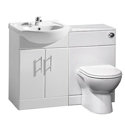 Bathroom Cabinets Back To Wall Toilet Basin Sink Suite Combi Vanity Unit 1150mm