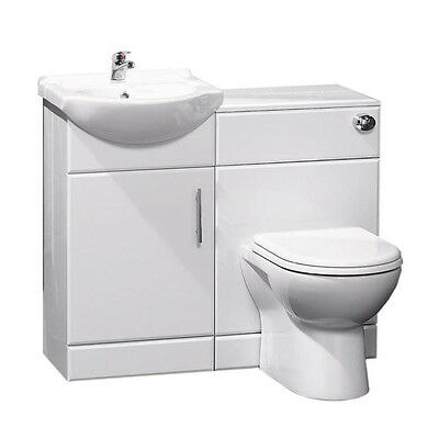 Bathroom Cabinets Back To Wall Toilet Basin Sink Suite Combi Vanity Unit 950mm