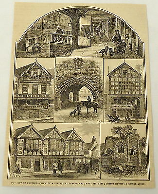 1881 magazine engraving ~ MANY PICTURES OF THE CITY ~ Chester, England