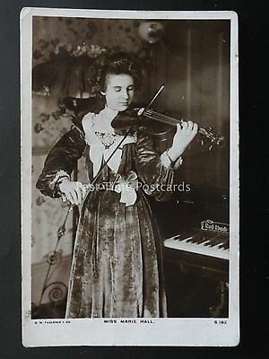 MISS MARIE HALL Female Violinist c1905 RP Postcard by C.W. Faulkner & Co. S.182