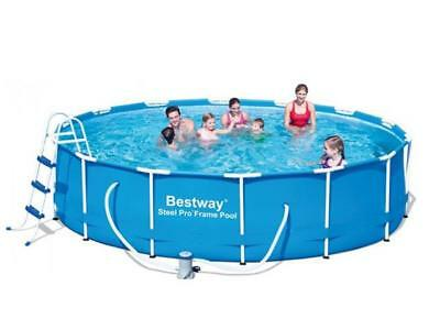 Bestway 14Ft X 39.5 Steel Pro Frame Family Pool Set Swimming Ladder Pump Cover