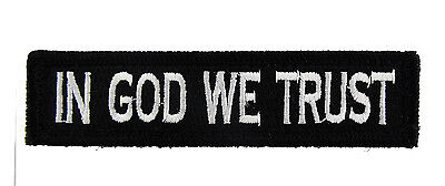 In God We Trust Tactical Hook & Loop Fully Embroidered Morale Tags Patch 1x4 BW
