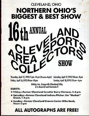 1993 Cleveland Sports Collectors (16th annual) show program MIKE BAAB autograph