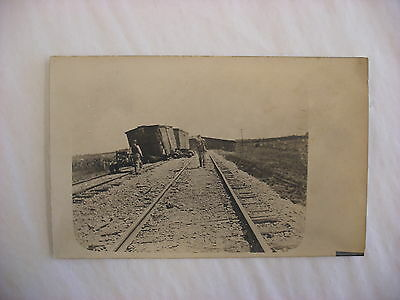 Real Photo Postcard RPPC Milwaukee Road Railroad Wreck Fox Lake Illinois IL 1920